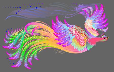Illustration of flying fairyland bird, vector cartoon image.