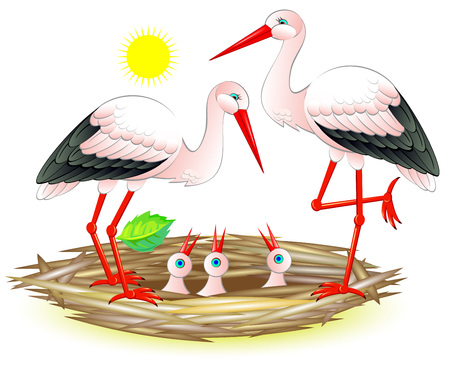 Illustration of happy stork family with their chicks in the nest. Vector cartoon image.