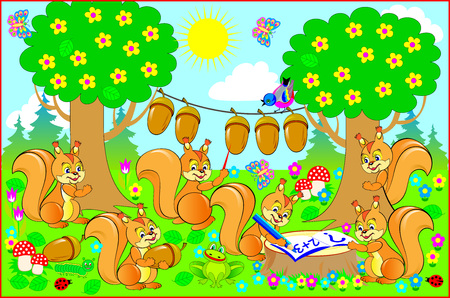Illustration for a textbook on mathematics. Merry squirrels in the forest learn to count and read. Vector cartoon image.