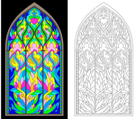 Colorful and black and white pattern of Gothic stained glass window. Worksheet for children and adults. Vector image. 矢量图像