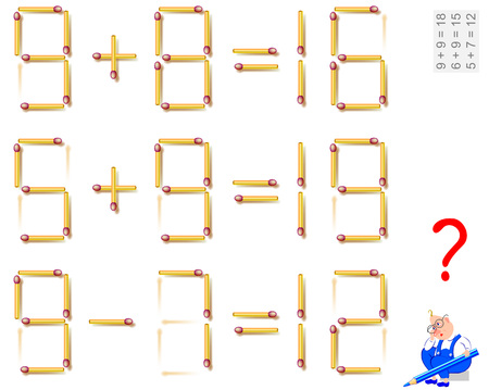 Logic puzzle game. In each task move 1 matchstick to make the equations correct. Vector image. Vectores