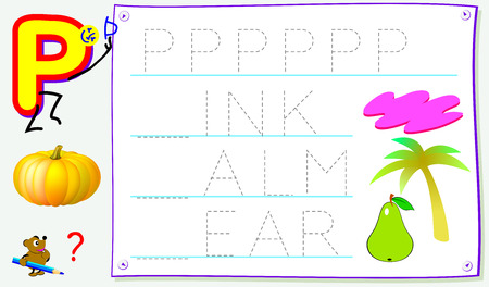 Educational page for young children with letter P for study English. Developing skills for writing and reading. Vector cartoon image. Ilustração
