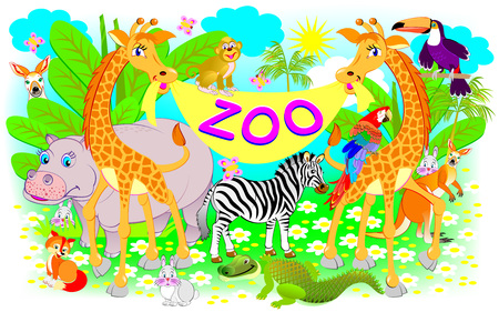 Poster for zoo. Illustration of two giraffes and other cheerful animals. Ilustração
