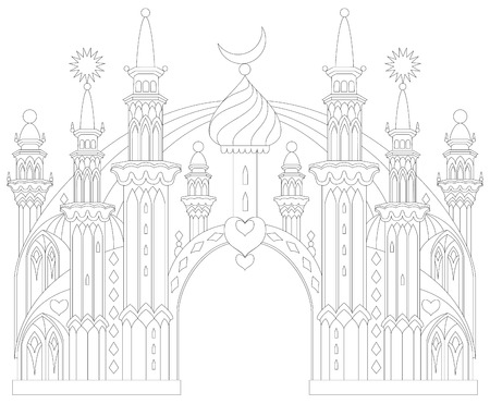 Black and white page for coloring. Fantastic East castle from a fairy tale. Worksheet for children and adults. Vector image.