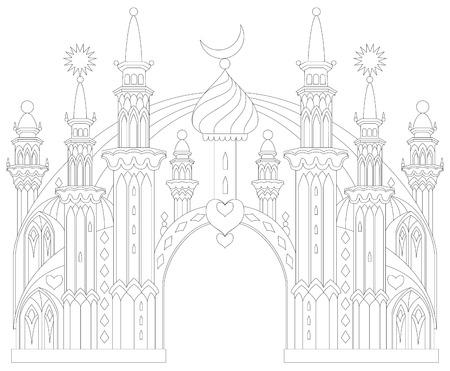 Zwart-wit pagina om in te kleuren. Fantastisch Oostkasteel uit een sprookje. Werkblad voor kinderen en volwassenen. Vector afbeelding. Vector Illustratie