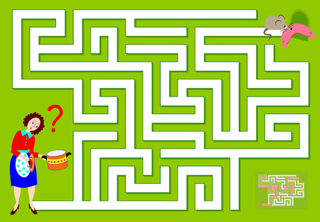 Logic puzzle game with labyrinth for children and adults. Which way the mouse has ran away? Vector image.