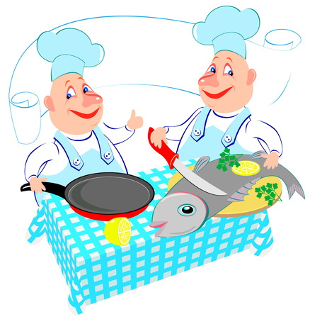 Illustration of two cheerful cooks preparing fish in the kitchen. Advertising for the restaurant. Vector cartoon image.