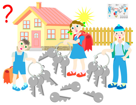 Logic puzzle game for children and adults. All children have the identical sets of four keys. Which of keys each of children has lost? Vector cartoon image. Illustration