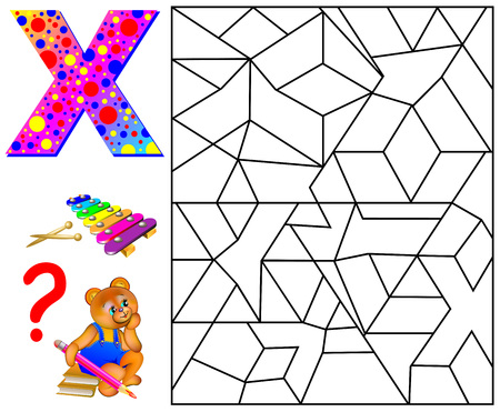Educational page with letter X for study English letters. Logic puzzle game. Find and paint 5 letters W. Vector image.