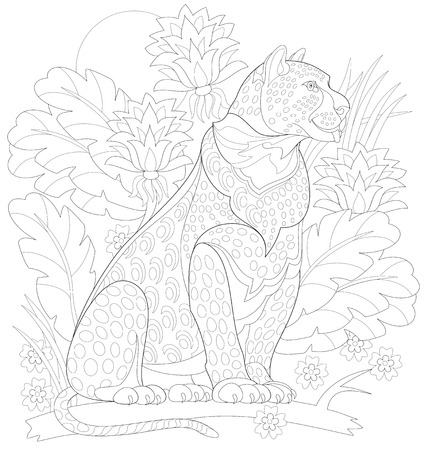 Black and white page for coloring. Decorative drawing of leopard in fantasy tropical environment. Worksheet for children and adults. Vector image.