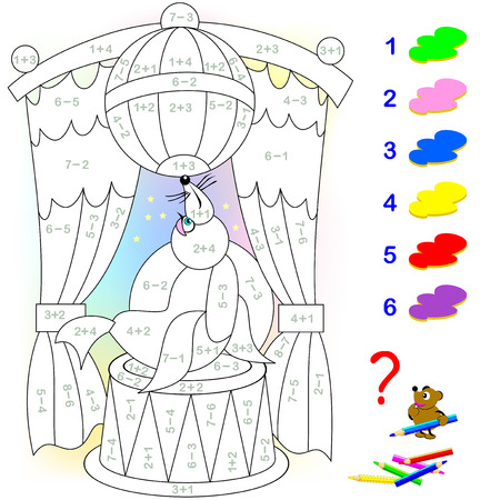 Educational page with exercises for children on addition and subtraction. Need to solve examples and to paint the image in relevant colors. Developing skills for counting. Vector image. Illusztráció