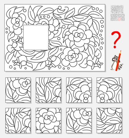 Logic puzzle game for children. Find and draw missing piece that corresponds to pattern.  イラスト・ベクター素材