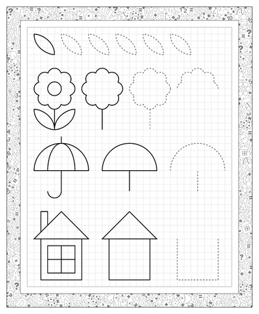 Black and white worksheet on a square paper with exercises for little children. . Vectores