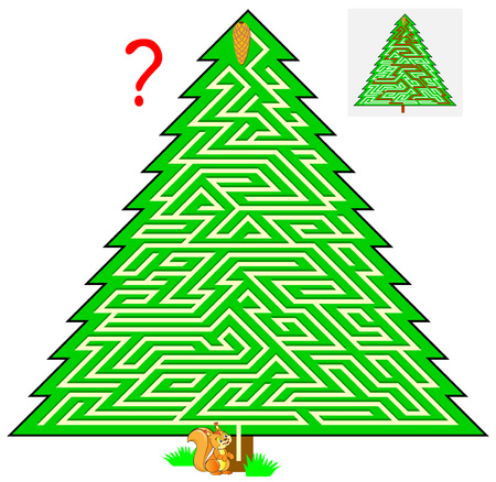 Logic puzzle game with labyrinth for children and adults. Help the squirrel find the way to the fir cone. Vector cartoon image.