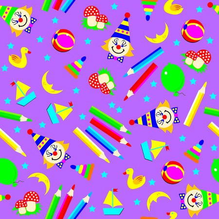 Seamless pattern ornament with funny scattered toys. Vector cartoon image.