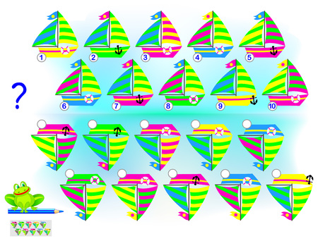 Logic puzzle game for children and adults. Find the correct reflection of each sailboat and write their numbers. Vector cartoon image.