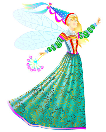 Illustration of fairy-tale princess with magic wand in beautiful medieval dress. Vector cartoon image.