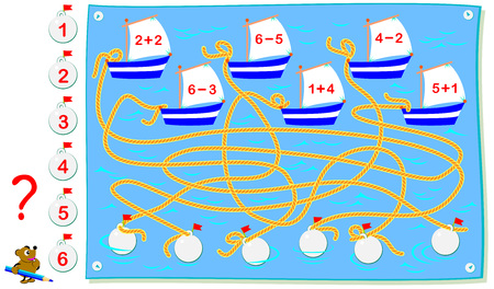 Educational page with exercises for children on addition and subtraction. Find which ropes are connecting to each boat? Solve examples and write the numbers on buoys. Vector cartoon image.