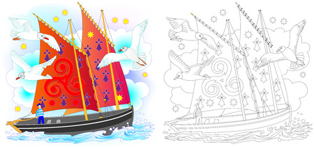 Colorful and black and white pattern for coloring. Fantasy drawing of ancient Celtic sailboat. Worksheet for children and adults. Vector image. Illustration
