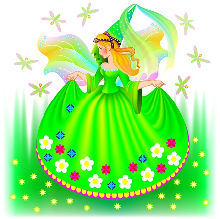 Illustration of beautiful fairy in spring