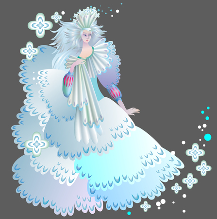 Illustration of beautiful medieval snow queen,