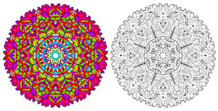 Colorful and black and white pattern for coloring. Fantasy drawing of ancient mandala. Worksheet for children