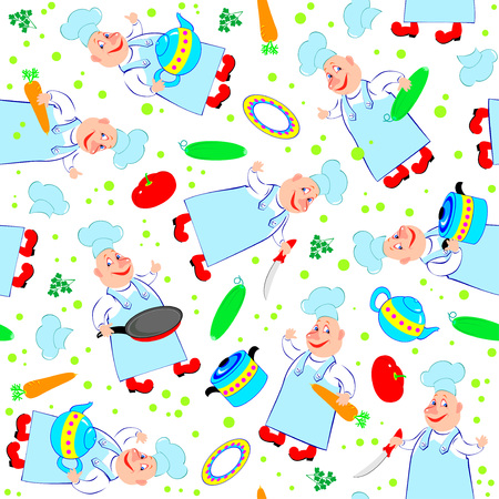Seamless pattern ornament with cheerful cooks and scattered products. Vector cartoon image. Illustration