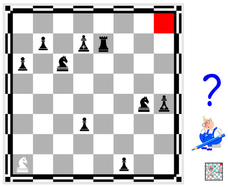 Logic puzzle game for children and adults. Find the way from white knight till the red cell respecting rules of chess game. Ilustração