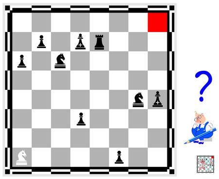 Logik-Puzzlespiel für Kinder und Erwachsene. Finden Sie den Weg vom weißen Ritter bis zu den roten Blutkörperchen unter Beachtung der Schachspielregeln.