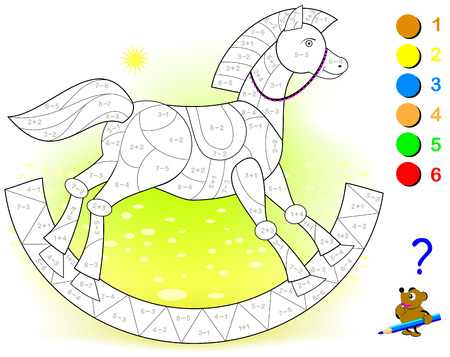 Educational page with exercises for children on addition and subtraction. Need to solve examples and to paint the toy rocking horse in relevant colors. Developing skills for counting.