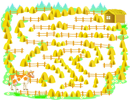 Logic puzzle game with labyrinth for children and adults. Help the cow find the way into cowshed.