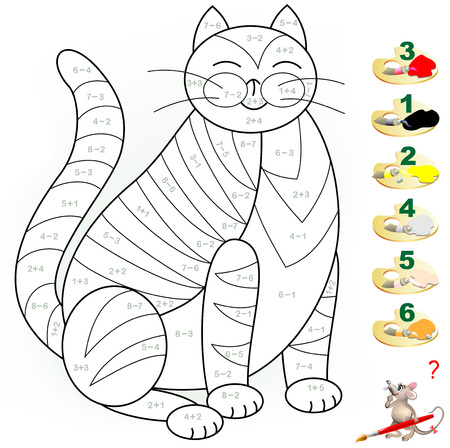 Educational page with exercises for children on addition and subtraction. Need to solve the equations which determine the relevant colors for coloring. Developing skills for counting.