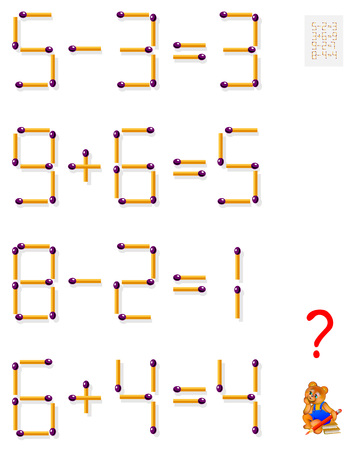 Logic puzzle game. In each task move one matchstick to make the equations balance.