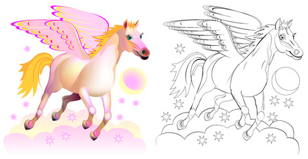 Colorful and black and white pattern for coloring. Fantasy illustration of cute Pegasus, winged horse in Greek mythology. Worksheet for children and adults.