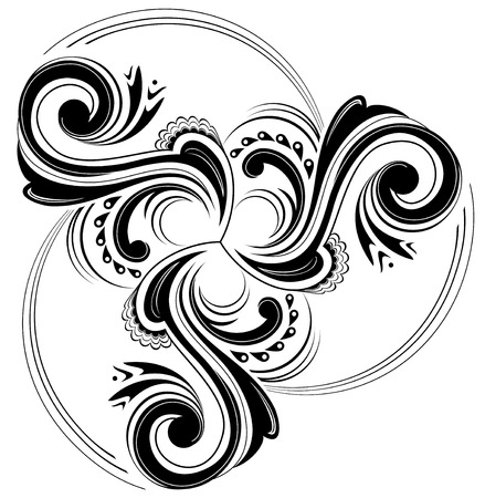 Celtic disk ornament with triple spiral symbol, black and white image. Ilustração
