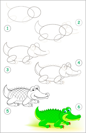 Page shows how to learn step by step to draw a cute crocodile. Developing children skills for drawing and coloring.