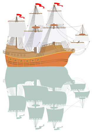 Illustration of galleon with reflection Standard-Bild - 105793485