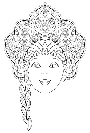 Black and white page for coloring. Fantasy drawing of womans face in beautiful folk headdress. Worksheet for children