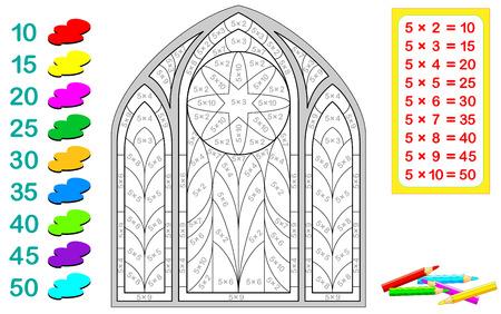 Una hoja de trabajo que consta de ejercicios matemáticos para niños usando la tabla de multiplicar del cinco. El número de la ecuación determina el color del área a colorear.