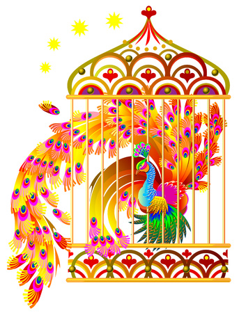Fantasy drawing of fairyland fire-bird sitting in a gold cage.