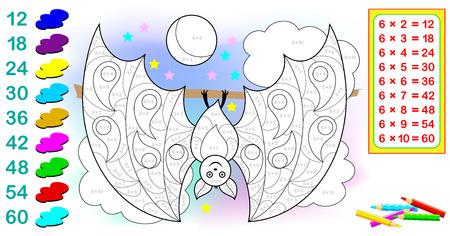Ficha con ejercicios para niños con multiplicación por seis. Imagen de dibujos animados de vector.