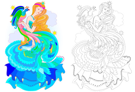 Colorful and black and white pattern for coloring. Fantasy drawing of beautiful fairy with fire-bird. Worksheet for children and adults. Vector image. 向量圖像