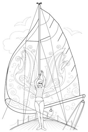 Black and white page for coloring. Fantasy drawing of beautiful fairy dancing tango on a board of sailboat. Worksheet for children and adults. Black and white vector image. Illustration