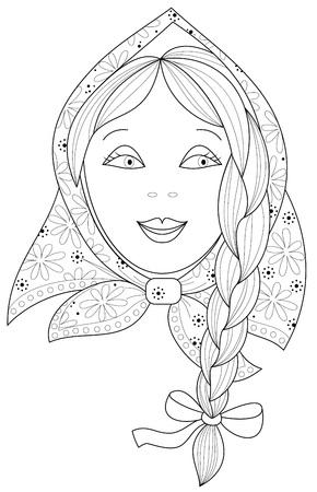 Schwarz-Weiß-Seite zum Ausmalen. Fantasiezeichnung des schönen kleinen Mädchens mit Zopf. Arbeitsblatt für Kinder und Erwachsene. Vektorbild.