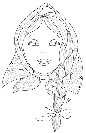 Black and white page for coloring. Fantasy drawing of beautiful little girl with braid. Worksheet for children and adults. Vector image. Illustration