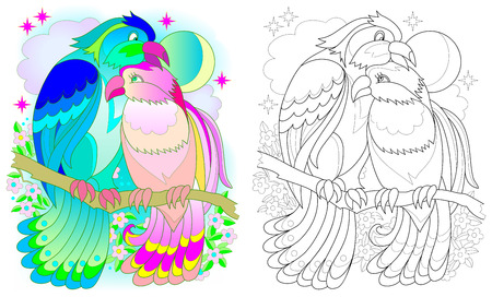 Colorful and black and white pattern for coloring. Fantasy drawing of birds couple. Worksheet for children and adults. Vector image.