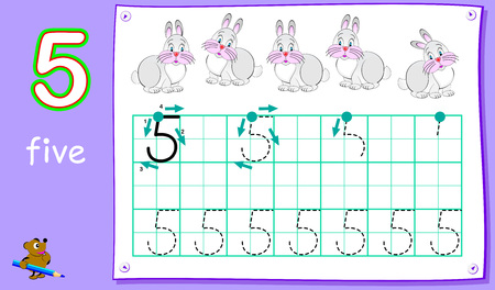 Educational page for young children with number five. Developing skills for writing and counting. Vector cartoon image.