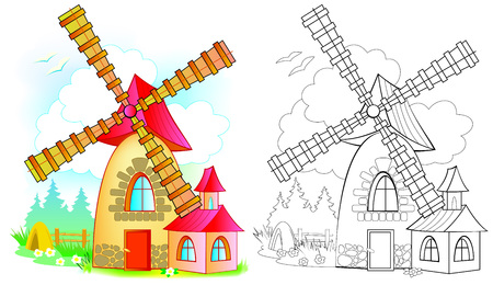 Illustration of fairyland toy windmill. Colorful and black and white pattern for coloring. Worksheet for children and adults. Vector image.