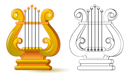 Colorful and black and white pattern for coloring. Illustration of lyre. Symbol of ancient Greek musical instrument. Worksheet for children and adults. Vector image.