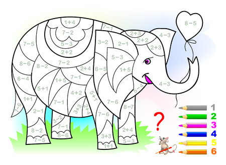 Educational page with exercises for children on addition and subtraction. Need to solve examples and to paint the elephant in relevant colors. Developing skills for counting. Vector image.